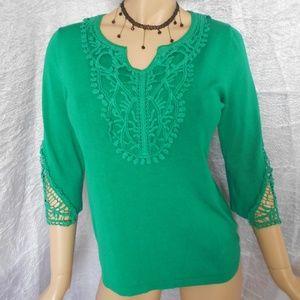 Nwt $68 LAUREN MICHELLE Green Top Sz S